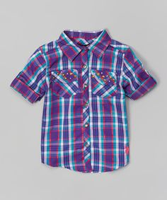 Look at this U.S. Polo Assn. Purple Plaid Button-Up - Infant, Toddler & Girls on #zulily today!