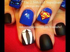 """""""nail art"""" """"superman nail art"""" """"superman nails"""" """"matte black nails"""" """"super hero nails"""" """"cartoon nails"""" """"how to cartoon nail art"""" """"cartoon nail art gallery"""" """"logo nail art"""" """"custom nail art"""" """"nail art designs"""" """"cute nail art"""" """"superhero nail art"""" """"superman Superman Nails, Superhero Nails, Superman Logo, Matte Black Nails, Painted Nail Art, Cute Nail Art, Nail Art Galleries, Diy Nails, Shellac Nails"""