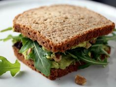 Sandwiched: Avocado, Arugula, and Walnut Sandwiches. #vegetarian