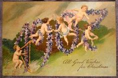 Christmas PC. Cherubs on Violet Wreath  Spelling 1907