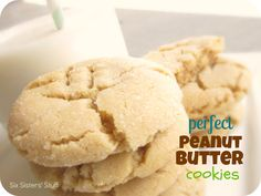 Perfect Peanut Butter Cookies from SixSistersStuff.com.  Our family loves these chewy, delicious cookies!