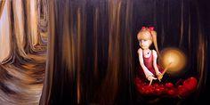 """Tu presencia lleva consigo un dulce sabor, caminando en tierras desconocidas y sin temor alguno, dejas esencia de tu temprana obsesión. Tu partida es fruto de la nostalgia, alumbras y olvidas todo miedo que daña tu interior como una simple ilusión.  Título: """"Blanda Escarlata"""" Técnica: Óleo sobre Bastidor Medida: 60 x 120 cm. (2 cm. grosor) Creación: 2015 Colección: Dolls  Verificar Disponibilidad: rigoyarte@gmail.com  Artista - Rigoberto Castro (Rigo-Art)"""