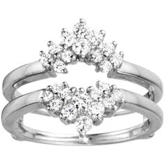 This classic style ring guard is inspired by a halo design, featuring a double-row prong-set halo, making a unique play on the classic halo ring guard. Crafted of sterling silver with 1/4 carat of diamonds, the ring is polished to a radiant shine.