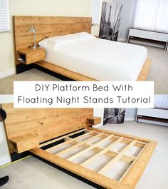 Best of It's Overflowing DIY Platform Bed With Floating Night Stands Tutorial Using Room Color To Se Diy Platform Bed Frame, Floating Platform Bed, Floating Bed Frame, Platform Bed With Storage, Wood Platform Bed, Bed Frame With Storage, Diy Bed Frame, Bed Storage, Diy Bedframe With Storage