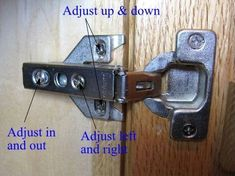Euro Hinge Adjustment - Euro Hinge Installation: How to Install Euro Hinges on Y. Kitchen Cabinets Hinges, Kitchen Cabinet Doors, European Hinges, Custom Cabinet Doors, Pastel Room, Home Fix, Diy Home Repair, Home Repairs, Ideas