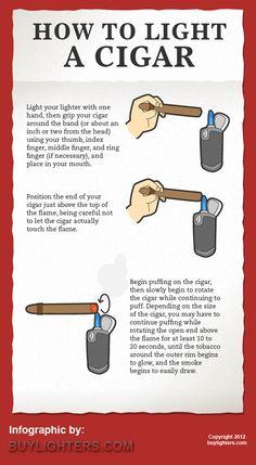 cigar infographics | How to Light a Cigar - Infographic