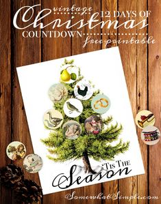 Vintage 12 Days of Christmas Countdown - Free printable (plus 11 more free Christmas printables!)