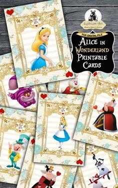 Alice in Wonderland Printable Cards - Alice in Wonderland Cards - Alice in Wonderland Birthday Party - Printable Signs - Party Decorations de LythiumArt en Etsy