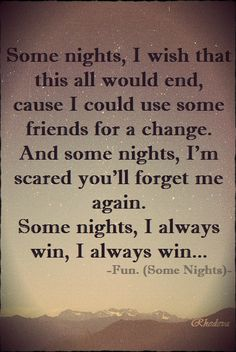 Some NIghts. Love this song, love all of its lyrics