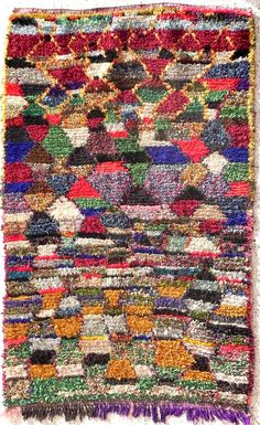 "Rag rug from Morocco called ""boucherouite"" berber tribal art"