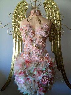 gold wings & flower dress