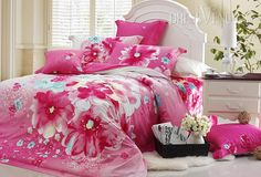 US$121.99 Captivating Pink Flowers 4 Piece Active Printed Comforter Sets with Cotton. #Bedding #Pink #Flowers #4