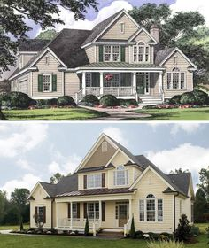 Plan 1032 - The Derbyville at www.dongardner.com - A metal roof tops the front porch, while columns and gables add to this classic farmhouse façade. Front and side stairs, show the way to the porch, creating a warm, inviting welcome. Double doors lead into a versatile bedroom/study, and the dining room is connected to the kitchen by a butler's pantry. The great room is enhanced with a cathedral ceiling, built-in cabinetry and fireplace that faces the kitchen. While a bay window extends the…