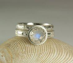 Blue Moonstone Wedding Set Wedding Band & by TazziesCustomJewelry