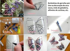 Butterflies made from plastic bottles, wire, beads, paint or markers and some glue.