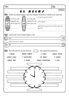 Printables La Hora Worksheet time in spanish printout worksheets for children los pedroches unidades de medida temporales jose boo