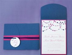 navy blue and pink wedding invites