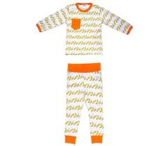 A very charming pajamas set with banana pattern from Indikidual. Detailed with orange elasticated ankles and waistband and with a matching orange pocket on the chest. Childrens Pyjamas, Pajama Set, Pajama Pants, Cool Kids Clothes, Banana, Scandinavian, Pattern, Bee, Honey