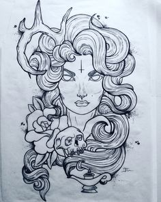 Neo traditional art Woman with one horn Skull Rose