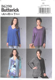 Butterick Katherine Tilton Pullover Knit Tunics Pattern 6136 Miss Plus Sz XS-XXL