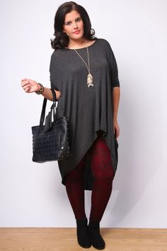 Charcoal Marl Oversize Dipped Hem Longline Top With 3/4 Sleeves Plus Size 14,16,18,20,22,24,26,28,30