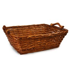 """Split Willow Utility Basket with Wood Handles 21in L x 16.5"""" W x 7""""H (9""""H with handle) $12.00.  Good website for baskets"""