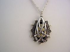 Outlander Celtic Teardrop Hidden Scottish Thistle Antique Silver Necklace