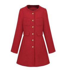 Hee Grand Lady Round Neck Cashmere Wool Blend Trench Coat Red