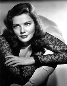 Gene Tierney (Irish Am. film/stage actress b. (studied Fr in Switz / Leave Her to Heaven 1945 Oscar nom) (married Rus-It fash des Cassini, 2 kids, Daria deaf/blind / JFK affair / married TX oil baron W Howard Lee Old Hollywood Glamour, Golden Age Of Hollywood, Vintage Hollywood, Hollywood Stars, Classic Hollywood, Hollywood Divas, Gene Tierney, Classic Actresses, Classic Movies