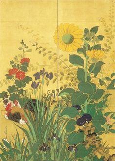 鈴木其一「四季花鳥図」
