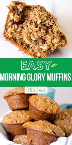 Morning Glory Muffins made with wholesome ingredients, are low in sugar and high in fiber. Nutty and hearty moist muffins with crispy edges for healthy breakfast or a snack. Healthy Muffin Recipes, Healthy Muffins, Waffle Recipes, Healthy Breakfast Recipes, Healthy Baking, Brunch Recipes, Baking Recipes, Healthy Food, High Protein Low Carb