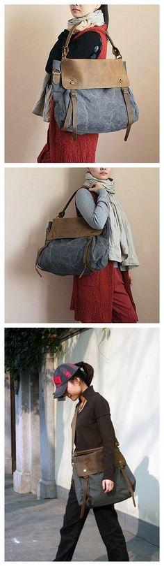 HOT SALE HIGH QUALITY CANVAS LEATHER TOTE BAG, WAXED CANVAS BRIEFCASE MESSENGER BAG