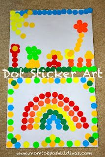 Use 100 dot stickers to create a unique work of art - great for 100th Day of School or anytime!--in the car, use them on the contact paper sheets in the trip journal, maybe makes it repositionable?