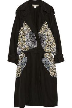 Stella McCartney|Gabriella appliquéd silk trench coat|NET-A-PORTER.COM