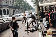 """""""Fallen Man, Paris"""" (1967), from one of Joel Meyerowitz's many bodies of work that are now united in a two-volume retrospective."""