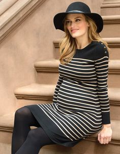 100% cotton knit   Popper nursing access   Flattering horizontal stripes   Above the knee   Long sleeves    Horizontal stripes are a sure-fire way to flatter your growing bump, and this stylish knitted maternity dress is the perfect way to work the trend this season. Made in the softest cotton knit, the style drapes effortlessly over your curves and offers plenty of stretch to ensure a flexible fit. Once baby is born, discreet poppers open up at the shoulders to provide easy access for…