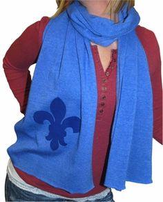 A fleur de lis and in blue?! A perfect Kappa accessory! @Erin Linnan Skogsberg winter formal scarves instead of tshirts?
