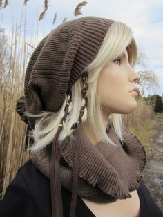 Bohemian Slouchy Beanie Thick  Winter Slouch Hat Dreadlock Tube Tam Cocoa Brown