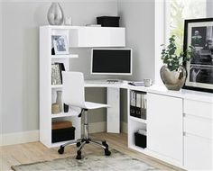 Home office // Milano White Corner Desk My Ideal Home, Next At Home, White Corner Desk, Photography Office, Office Makeover, Interior Design Tips, Two Bedroom, Office Ideas, Interior Architecture
