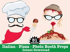 Italian Photo Booth Props Pizza Party by SimplyEverydayMe on Etsy