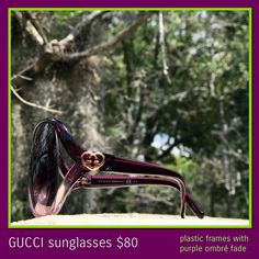 bb7f301637c3 These gorgeous Gucci sunglasses feature a plastic frame with a purple ombré  fade and gold hardware