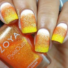 Candy Corn Ombre Nail Design