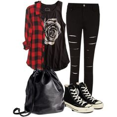 My Outfit if I Could go to Vans Warped Tour # punk Fashion Designer Clothes, Shoes & Bags for Women Scene Outfits, Edgy Outfits, Mode Outfits, Grunge Outfits, Fall Outfits, Cute Emo Outfits, Floral Outfits, Punk Rock Outfits, Flannel Outfits