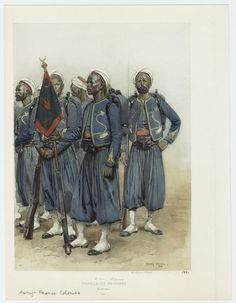 "Corps of Tirailleurs recruited from all over French West Africa. They were former slaves, prisoners of war, and volunteers. They engaged in the ""pacification"" or colonial conquest of what became francophone Africa. African History, African Art, French West Africa, Seven Years' War, French Colonial, Today In History, Prisoners Of War, Out Of Africa, Carthage"