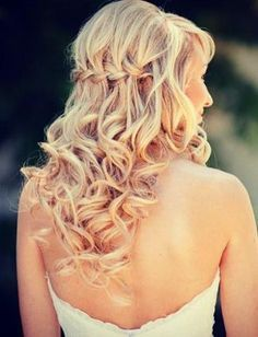 Curly Braided Half Updo Style   best stuff