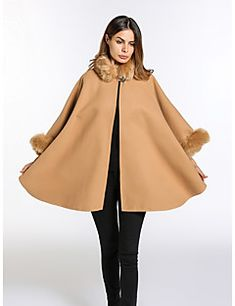 Γυναικείο+Παλτό+Αργίες+Καθημερινά+Χαριτωμένο+Κομψό+στυλ+street+Μονόχρωμο,Μακρύ+μανίκι+Στρογγυλή+Λαιμόκοψη+Φθινόπωρο+Χειμώνας+Ψεύτικη+–+EUR+€+57.20