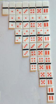 Domino game hama beads by Helenn Perler Bead Templates, Diy Perler Beads, Perler Bead Art, Pearler Beads, Fuse Beads, Hama Beads Coasters, Pearler Bead Patterns, Perler Patterns, Hama Pokemon