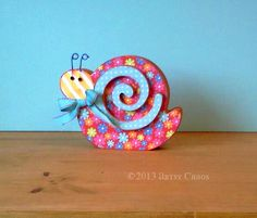 Unfinished Wood Standing SNAIL Spring Summer Home by artsychaos