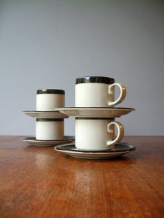 Arabia Finland Scandinavian Modern Karelia Cups Saucers by luola, $45.00 Earthenware, Stoneware, Ancient Names, Coffee With Friends, Scandinavian Modern, Cupping Set, Rustic Chic, China Porcelain, Cup And Saucer
