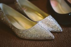 Sparkly flat wedding shoes - with crystals applied one by one by the bride.  http://www.jonnydraper.co.uk/